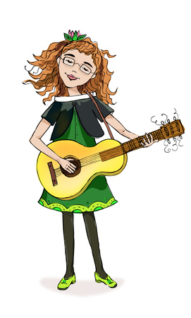 schooler: Little girl playing guitar, character illustration. Educational concept Stock Photo