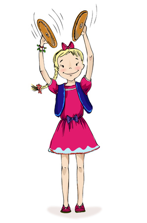 Little girl playing cymbals, character illustration.  Educational concept