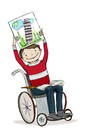 schooler: Boy in wheelchair showing the book.  Educational concept