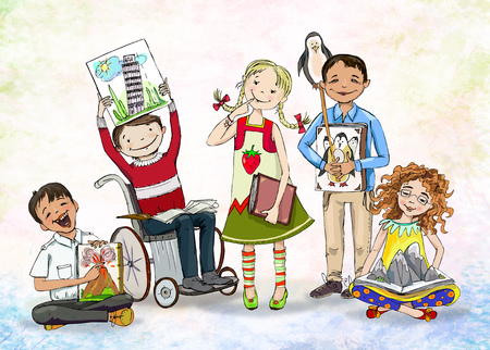 invalid: Group of happy children, include the boy in wheelchair, with books. Educational concept illustration