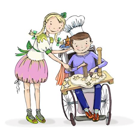 Fille et garçon dans le fauteuil roulant, faisant de l'activité pendant la session de cours de cuisine. Concept éducatif