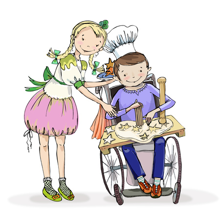 Girl and boy in the wheelchair, making activity during the cooking class session. Educational concept