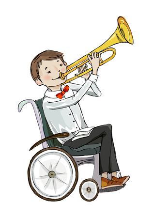 Boy in the wheelchair playing trumpet  during the music lesson.  Educational concept