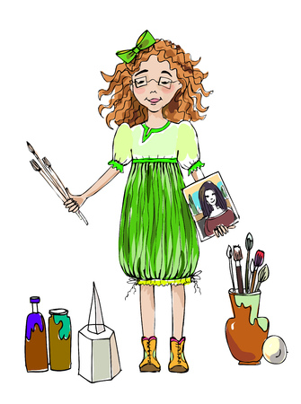 Little girl  with paint, brushes and canvas during the art lesson, character illustration.  Educational concept Stock Photo