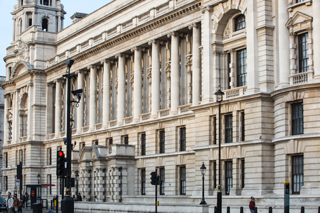 royal: London, UK - October 4, 2016: Government buildings at the Whitehall road