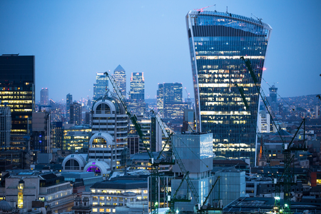London, UK - December 19, 2016: City of London business aria view at night. Walkie-Talkie building and Canary Wharf at the background Stock fotó - 79118351