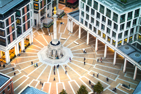 st pauls: London, UK - December 19, 2016: St. Pauls square in the evening with walking people Editorial