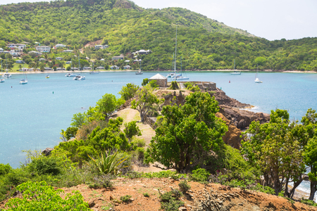 Antigua, English Harbour panoramic view with boats and yachts. View include Freeman bay and beach