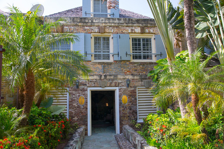 Antigua, Caribbean islands, English Harbour - May 20, 2017: Nelsons Dockyard is a cultural heritage site and marina. Admirals Inn and storage houses 18th century