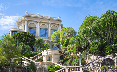 mediterranian houses: Monaco, Monte Carlo - September 17, 2016: Buddha Bar, luxury bar locates on the back of the Grand Casing Monte Carlo Editorial