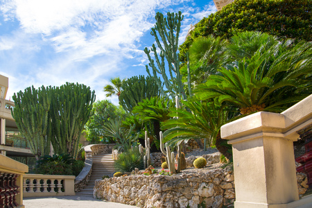 Monaco, Monte Carlo - September 17, 2016: Stairs towards the Buddha Bar, luxury bar locates on the back of the Grand Casing Monte Carlo Editorial