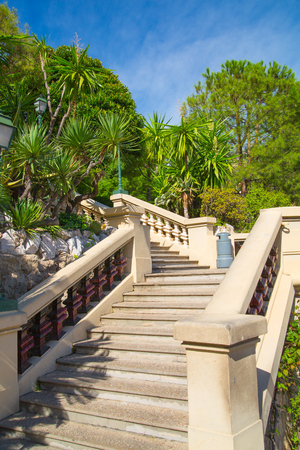 Monaco, Monte Carlo - September 17, 2016: Stairs towards the Buddha Bar, luxury bar locates on the back of the Grand Casing Monte Carlo Stock Photo