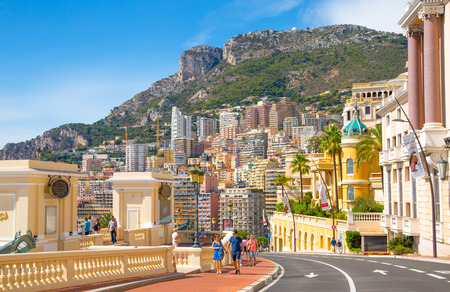 Monaco, Monte Carlo - September 17, 2016: Residential building view from the Grand Casino Editorial