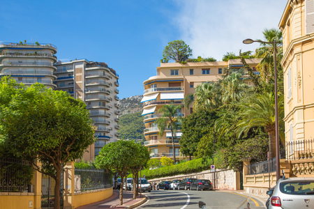 Monaco, Monte Carlo - September 17, 2016: Residential building with luxury apartments, locates close to Grand Casino