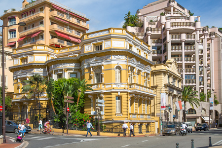 mediterranian houses: Monaco, Monte Carlo - September 17, 2016: Residential building with luxury apartments, locates close to Grand Casino