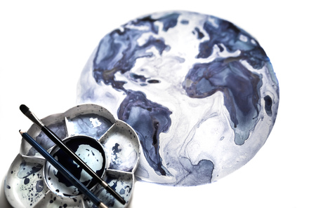 Abstract Globe, brushes and palette, Watercolour textured collection. Stock Photo