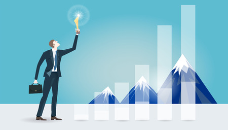 Successful businessman holding the trophy in front of the mountains. Winning, leading and success theme illustration. Business concept collection. Stock Photo