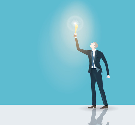Successful businessman holding the trophy and illuminated with torch light. Winning, leading and success theme illustration. Business concept collection.