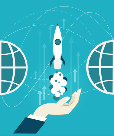holing: Human hand holing the starting rocket. Business and innovation concept of launching. Stock Photo