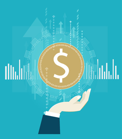 Human hand holing the dollar. Financial and economic concept illustration
