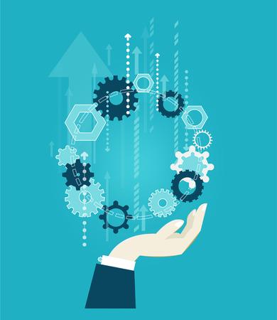 人間の手穴かがり、歯車。進歩と革新の概念図でのビジネス