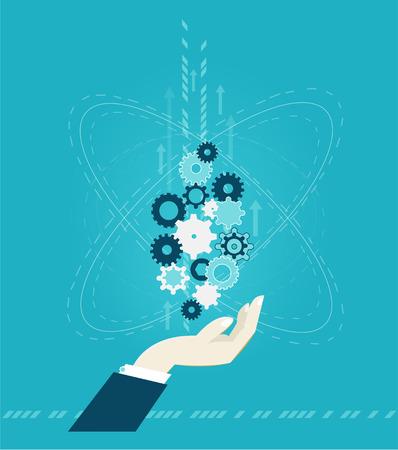 Menselijke hand met een gat in de versnellingen. Lopende de bedrijfs en illustratie van het innovatieconcept Stockfoto