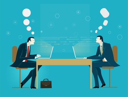 Business meeting. Two business men discuss the project. Business concept collection. Stock Photo