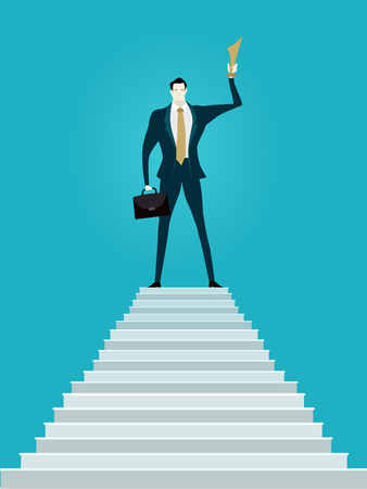 Successful businessman on top of the stairs with the trophy. Winner  against of growth graphs. Business concept illustration. Stock Photo