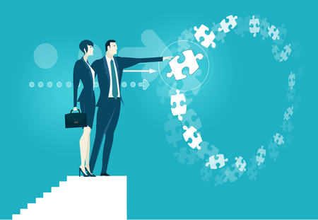 Businesswoman and businessmen talking business in front of background made of flying puzzle pieces. Making the right decision. Business concept illustration.