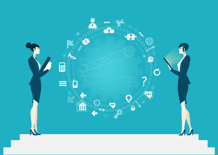 Two businesswoman on discussion in front of business background mage of icons. Business concept illustration. Stock Photo