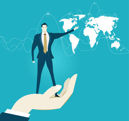 Human hand holding the businessmen in front of the map. Representation of successes, control, support and coordination. Concept illustration