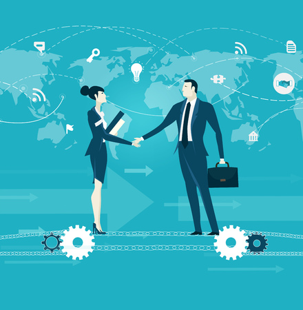 Businessman and businesswoman staying on the chain powered by gears. Business people shaking hands in front of the map. Business concept illustration. Stock Photo