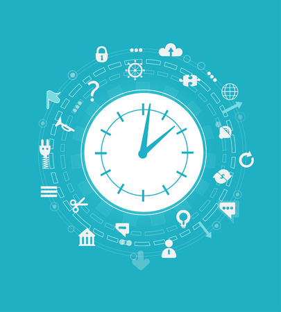 Time concept illustration. Clock surrounded by communicating icons and symbols. Stock Photo