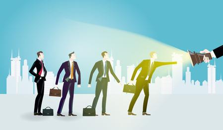 Groep jonge bedrijfsmensen. Vertegenwoordiging van professioneel succes en kansen. Bedrijfsconcepteninzameling. Stockfoto