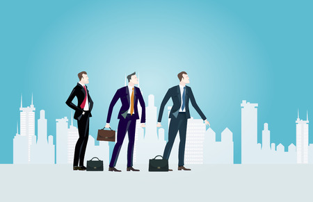 Group of young business people in the City looking for the new opportunities. Representation of professional success and growth career. Business concept collection.