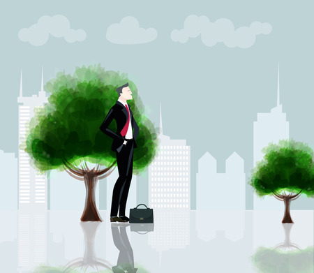 Successful businessmen in the city. Business concept illustration Stock Photo
