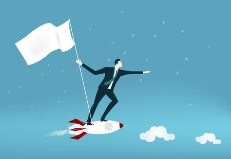 Successful businessmen flying on the rocket and watching for the commercial opportunities. Business concept illustration Stock Photo