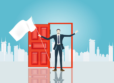 Successful businessmen in the City in front of the red door, represents opportunities and professional career. Business concept illustration