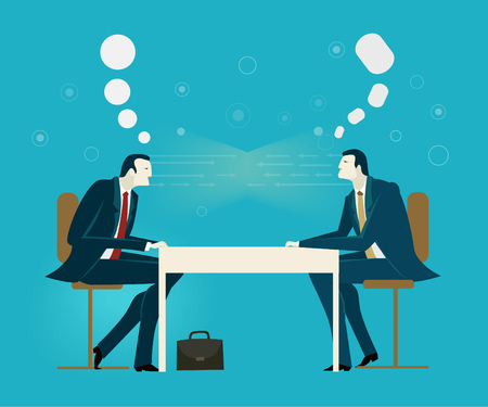 Two businessmen on the meeting discussing the deal. Business concept illustration