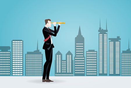 Businessmen looking with the telescope in the open door, representing the opportunities and success in career. Business concept illustration Stock Photo
