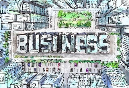 Moderne stadsillustratie. Kijk neer op de zakelijke aria met wolkenkrabbers die zijn gecomponeerd in het BUSINESS-bord