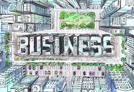 Modern city illustration. Look down on the business aria with skyscrapers which composed in the BUSINESS sign Stock Photo