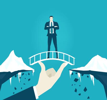 Businessmen staying on the safe bridge over the canyon. Ilustracja