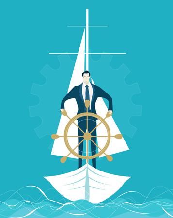 ステアリング ホイールを握ってボートのビジネスマン。獲得し、リードするコンセプト