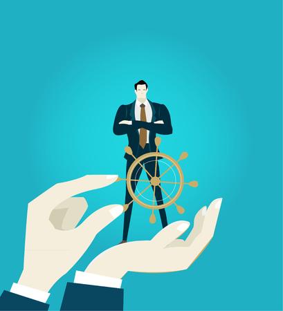 성공적인 기업인 제공 지도자의 책임으로 인간의 손에 들고.