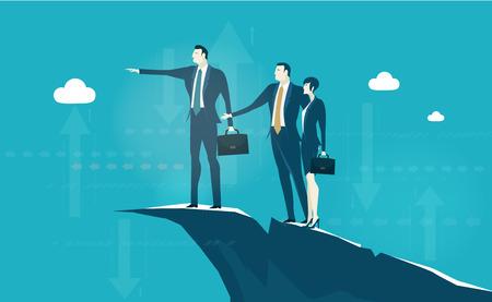 Mensen uit het bedrijfsleven verblijven op de zeer hoge positie in de bergen en discussie toekomstige kans. Bedrijfs concept illustratie Vector Illustratie