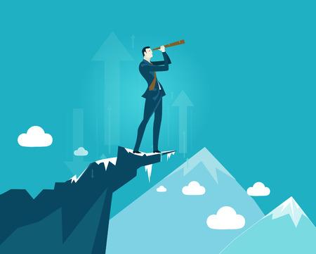 Businessmen on top on the mountain in very risky situation. Vektoros illusztráció