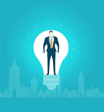Businessmen inside of the light bulb in the City.