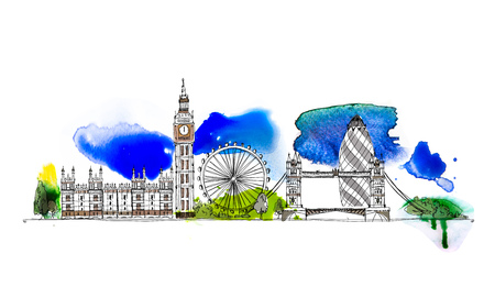 London, Big Ben, Houses of Parliament and Tower Bridge Illustration.  Sketch with colourful water colour effects Stock Photo