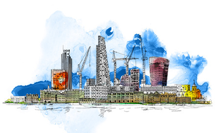 Modern London. City of London  with crane and building sites of new developments. Sketch with colourful water colour effects